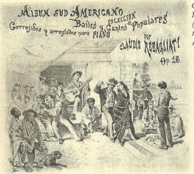 Grabado de Ignacio Merino S-XIX donde se puede ver a uno de los músicos tocando sentado una especie de cajón.